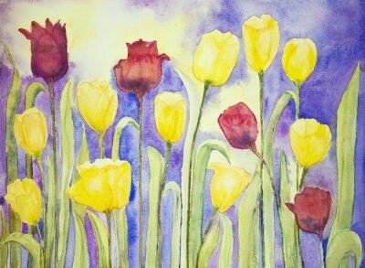 Image Tulipes jaunes et rouges sur un fond lilas et jaune. La technique dabbing près des bords donne un effet de foyer doux en raison de la rugosité de surface altérée du papier.
