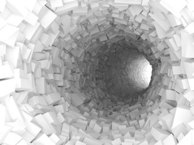 Image Tunnel, murs, fait, chaotique, blocs