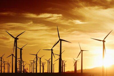 Image Turbrines à vent au coucher du soleil