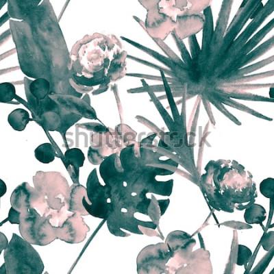 Image Turquoise bohème bleu rétro exotique aquarelle Floral Seamless Pattern. Fond de tissu féminin doux à la banane, feuilles de ventilateur, roses. Aquarelle Floral Seamless Pattern Tropical Print Prints.