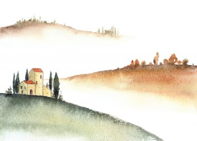 Image Tuscan villa and distant hills landscape watercolor painting.