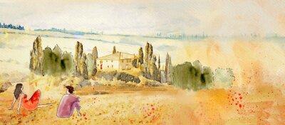 Image Tuscany, romantic date. Watercolor