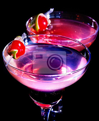 Two pomegranate cocktail glass with cherry 77.
