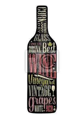 Typographie lettre affiche texte dans la silhouette bouteille Images myloview