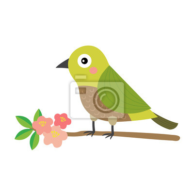 Uguisu Oiseau Oiseau Perching Branche Animal Dessin Anime
