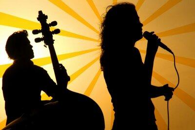 Image un chanteur et un stand up silhouette de base