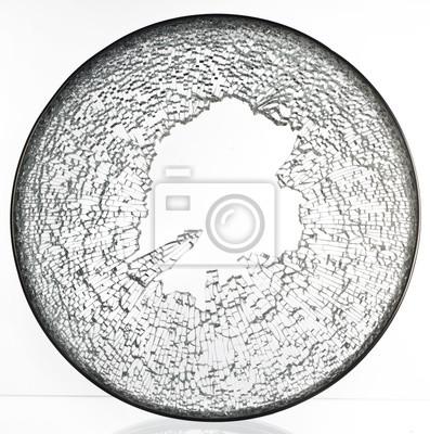 un couvercle sur la fenêtre cassée de pot d'un couvercle en verre fissuré