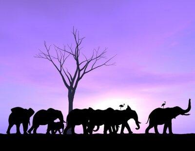Image Un éléphant ouvre la voie que les autres suivent avec un coucher de soleil pourpre ou le lever du soleil.