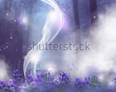 Image Un fond de fantaisie avec des fleurs violettes et des effets magiques.