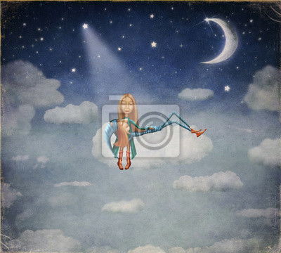 Un garçon et une fille assis au clair de lune sur un nuage