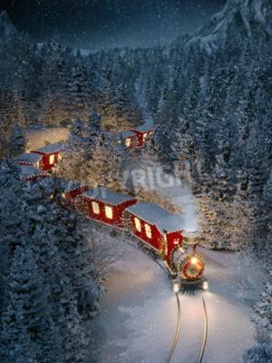 Image Un joli train de noël traverse la fantastique forêt d'hiver du pôle Nord. Illustration 3d inhabituelle de noël