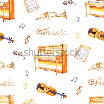 Image Un modèle sans couture avec des instruments de musique dessinés à la main sur une texture de fond aquarelle.