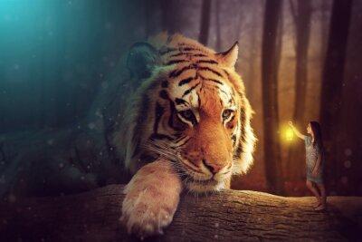 Image Un monde fantastique - une femme et un tigre géant