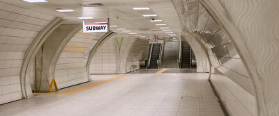 Image Underground subway station hallway tunnel with escalator. Abstract perspective view