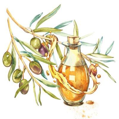 Image Une branche d'olives vertes mûres est juteuse versée avec de l'huile. Gouttes et éclaboussures d'huile d'olive. Aquarelle et illustration botanique isolé sur fond blanc.