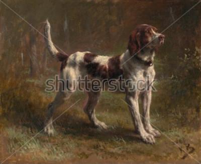 Image UNE BRIQUET HOMME LIMIER, de Rosa Bonheur, 1856, peinture française, huile sur toile. C'était un portrait du chien du vicomte d'Armaille. Bonheur était un maître de la peinture animalière et le