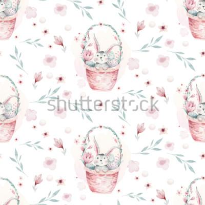 Image Une illustration aquarelle de printemps du mignon lapin de Pâques. Modèle sans couture animal dessin animé lapin avec panier