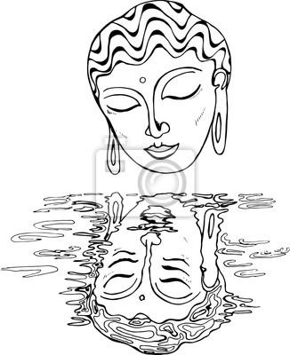 Une Illustration Dun Bouddha Et De Son Reflet Dessin Noir Et