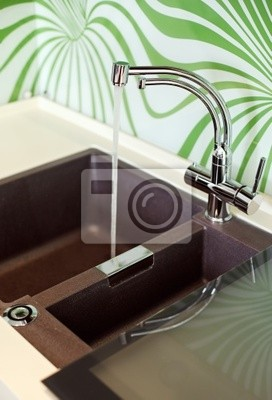 Image: Une partie de lintérieur de la cuisine moderne avec évier