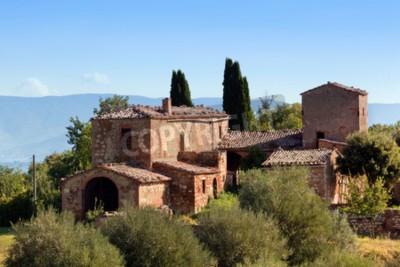 Image Une résidence en Toscane, en Italie. Typique pour la région ferme toscan, collines, cyprès. Italie