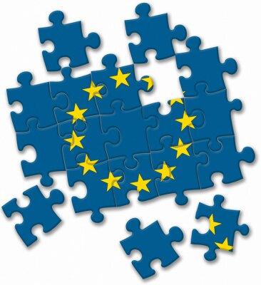 Image Union européenne UE drapeau puzzle sur le fond blanc