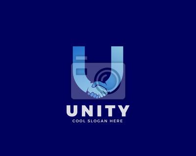 Image Unité vecteur abstrait signe, symbole ou modèle de logo. Poignée de  main incorporée 38140a13ff42