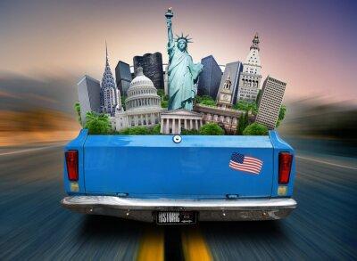 Image USA, attractions USA dans le coffre d'une voiture en mouvement
