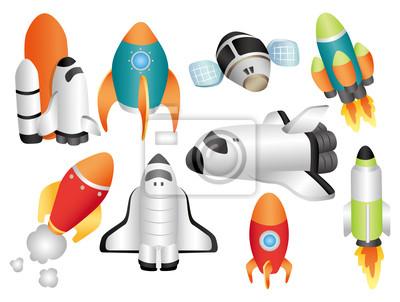 Dessin Vaisseau Spatial vaisseau spatial de dessin animé peintures murales • tableaux