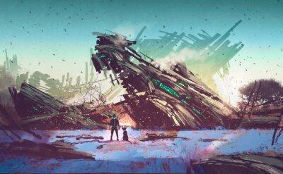 Image vaisseau spatial écrasé sur Bluefield, illustration peinture