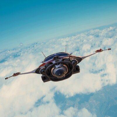 Image vaisseau spatial sur le ciel bleu