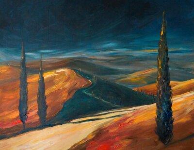 Image Vallée de la Toscane au coucher du soleil. Image créée avec des acryliques.