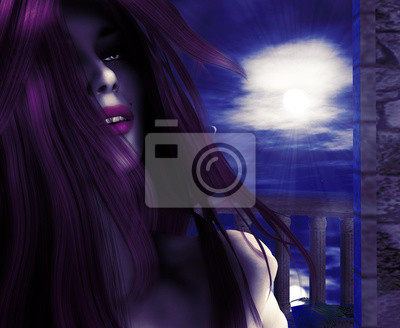 Vampire sur le balcon de nuit