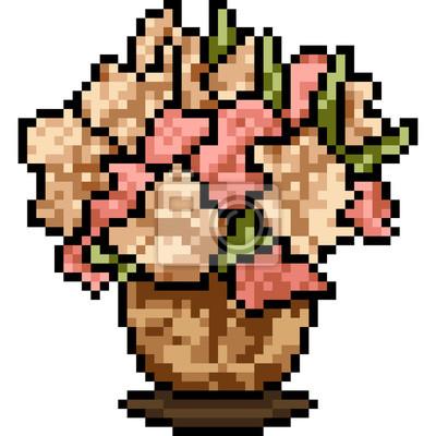 Image Vase De Fleur De Vecteur Pixel Art