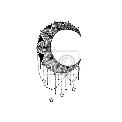 Vecteur Beau Lune Noir Mandala Modele Conception Element
