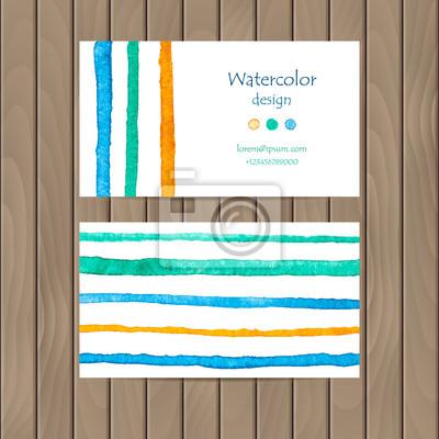 Vecteur carte de visite avec des bandes d'aquarelle