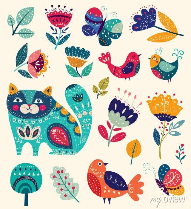 Image Vecteur, collection, fleurs, décoratif, chat, papillon, oiseaux