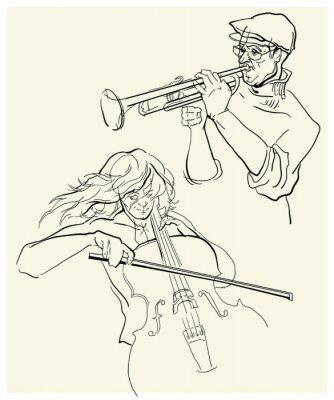Image Vecteur, croquis, musicants.