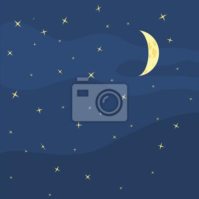 vecteur de ciel de nuit, la lune et les étoiles
