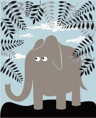 Image Vecteur de fond avec l'éléphant et le feuillage
