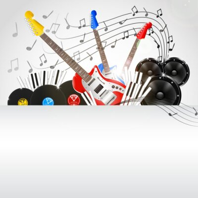 Image Vecteur de fond de musique avec des instruments et de l'équipement de musique