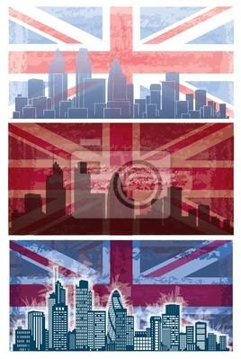 Vecteur de la Colombie-fond drapeau grunge avec la ville de Londres