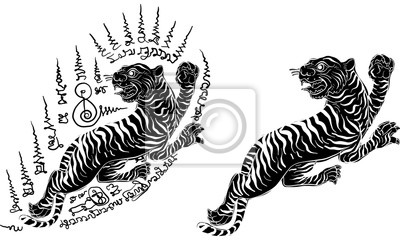 Vecteur De Tatouage Traditionnel Tigre Thai Peintures Murales