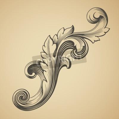 Image vecteur élément baroque de motif d'encadrement design vintage gravure style rétro
