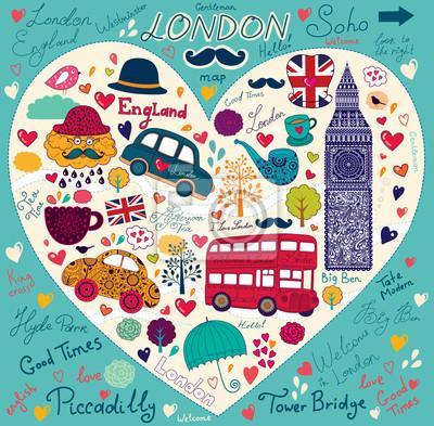 Vecteur ensemble de symboles et monuments de Londres