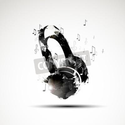 Image Vecteur, fond, résumé, aquarelle, écouteur