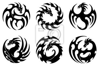 Image Vecteur Illustration Ensemble Rond Tribal Dragon Tatouage