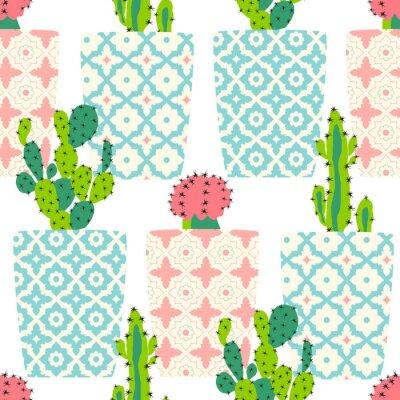 Image Vecteur, modèle, cactus Mignon, cactus, fleurs, ornemental, pots Dessin à la main illustration.