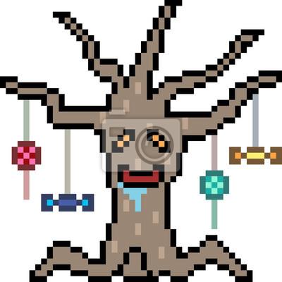Image Vecteur Pixel Art Halloween Tree