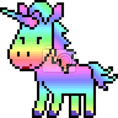 Image Vecteur Pixel Art Licorne Arc En Ciel