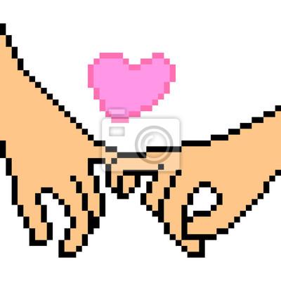 Image Vecteur Pixel Art Main Geste Amour